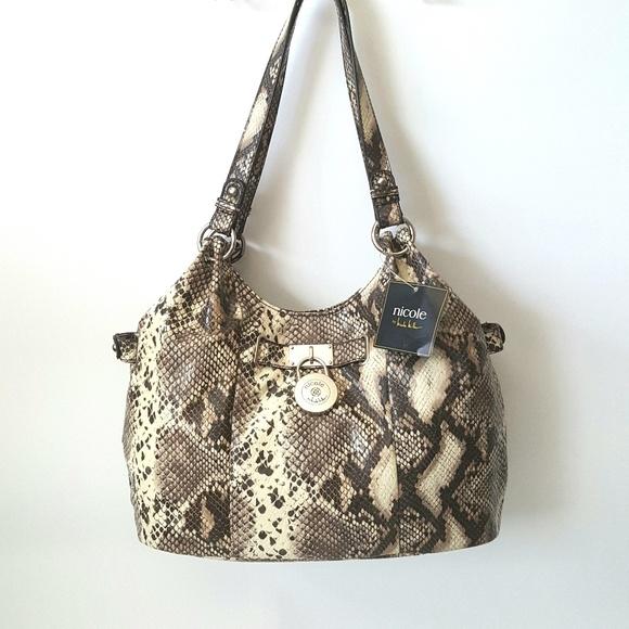 38a5af98fa NWT s NICOLE MILLER Josie Shopper Snakeskin Bag